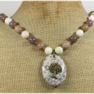 Handmade POPPY JASPER TREE CHARM AVENTURINE JADE NECKLACE