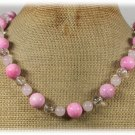 Handmade PINK CORAL ROSE QUARTZ CLEAR CRYSTAL NECKLACE