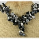 Handmade BLACK AGATE LABORADITE RUTILATED QUARTZ PEARLS NECKLACE