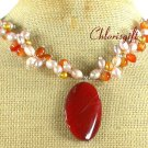 Handmade RED CARNELIAN & FRESH WATER PEARL NECKLACE