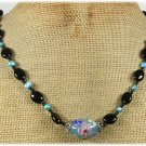 Handmade FLOWER LAMPWORK BLACK AGATE FW PEARLS NECKLACE