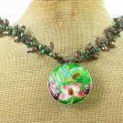 Handmade FLOWER CLOISONNE & SMOKY QUARTZ & FW PEARL NECKLACE
