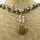 Handmade NATURAL UNAKITE & FRESH WATER PEARLS NECKLACE