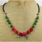 Handmade RED CORAL GREEN JADE LEATHER CORD NECKLACE