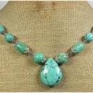 Handmade TURQUOISE LEATHER CORD NECKLACE