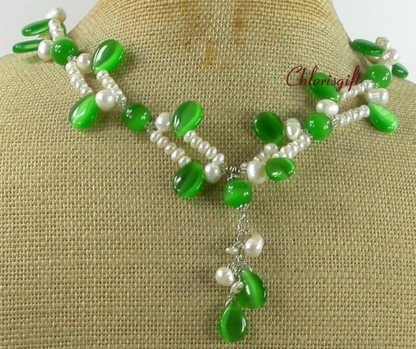 Handmade GREEN CAT EYE & FRESH WATER PEARLS NECKLACE
