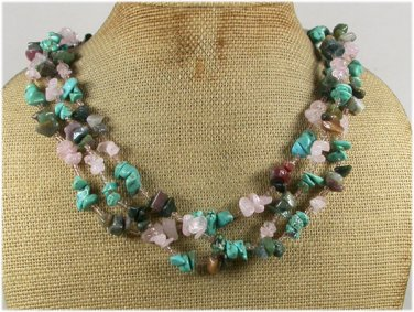 Handmade TURQUOISE FANCY JASPER ROSE QUARTZ 3ROW NECKLACE