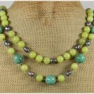 Handmade TURQUOISE OLIVE JADE FRESH WATER PEARLS 2ROW NECKLACE