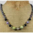 Handmade OLIVE PURPLE CORAL BLACK AGATE PEARLS NECKLACE