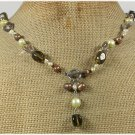 Handmade SMOKY QUARTZ CLEAR QUARTZ FW PEARLS NECKLACE