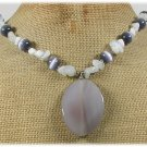 Handmade GREY AGATE CAT EYE OPALITE NECKLACE