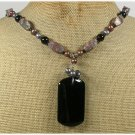Handmade BLACK AGATE LEOPARDSKIN JASPER PEARLS NECKLACE