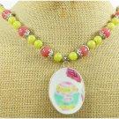 Handmade MING DYNASTY POTTERY SHARD & PINK LEMON JADE NECKLACE