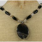 Handmade BLACK FIRE AGATE & RUTILATED QUARTZ NECKLACE