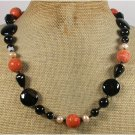 Handmade ORANGE CORAL BLACK AGATE FRESH WATER PEARLS NECKLACE