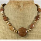 Handmade BROWN AGATE & PICTURE JASPER NECKLACE
