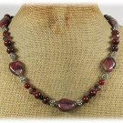 Handmade RED BROWN PICTURE JASPER BACCIATED JASPER CRYSTAL NECKLACE