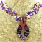 Handmade  MURANO GLASS & CAT EYE & FW PEARL NECKLACE