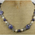 Handmade SODALITE & FRESH WATER PEARLS NECKLACE