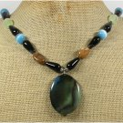Handmade BRAZILIAN AGATE SERPENTINE JADE CAT EYE NECKLACE