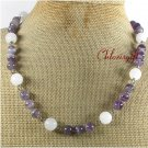 Handmade NATURAL WHITE JADE PURPLE FLUORITE NECKLACE