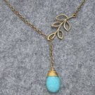 Handmade TURQUOISE & LEAF NECKLACE