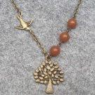 Handmade TREE & SWALLOW & HONEY JADE NECKLACE