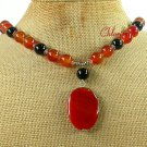Handmade NATURAL RED & BLACK AGATE NECKLACE
