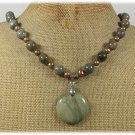 Handmade RHYOLITE & FRESH WATER PEARLS NECKLACE