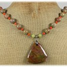 Handmade RHYOLITE AUTUMN JASPER ORANGE CORAL OLIVE JADE NECKLACE
