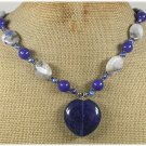 Handmade TANZANITE QUARTZ SODALITE BLUE JADE PEARLS NECKLACE