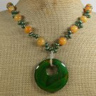 Handmade YELLOW GREEN AGATE JADE FRESH WATER PEARL NECKLACE