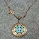 Handmade LOCKET & TURQUOISE PEACE & SWALLOW BIRD NECKLACE