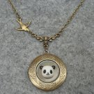 Handmade LOCKET & PANDA & SWALLOW BIRD NECKLACE