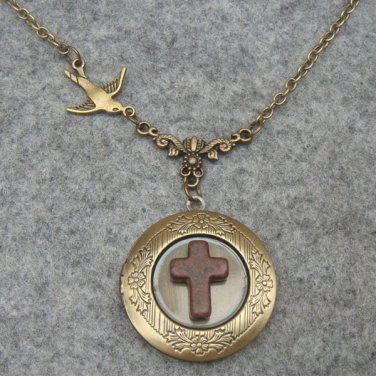 Handmade LOCKET & BROWN TURQUOISE CROSS & SWALLOW BIRD NECKLACE