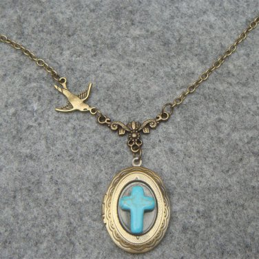 Handmade OVAL LOCKET & TURQUOISE CROSS & SWALLOW BIRD NECKLACE