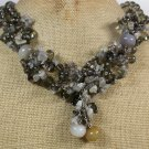 Handmade  BROWN AGATE LABORADITE QUARTZ CRYSTAL NECKLACE