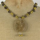 Handmade CITRINE QUARTZ SMOKY QUARTZ FW PEARLS NECKLACE