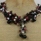 Handmade  BLACK AGATE RED JADE LAMPWORK QUARTZ PEARLS NECKLACE
