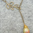 Handmade UNAKITE DROP LEAF BRANCH LARIAT NECKLACE