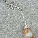 Handmade TIGER QUARTZ DROP SILVER LEAF BRANCH LARIAT NECKLACE
