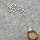 Handmade TIGER EYE DROP SILVER LEAF BRANCH LARIAT NECKLACE