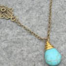 Handmade TURQUOISE DROP HAMSA HAND NECKLACE