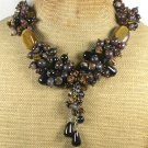 Handmade TIGER EYE BLACK AGATE BACCIATED JASPER GARNET NECKLACE