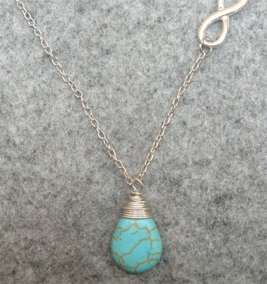 Handmade TURQUOISE DROP SILVER INFINITY NECKLACE