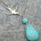 Handmade TURQUOISE DROP SILVER SWALLOW BIRD NECKLACE
