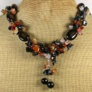 Handmade RED ORANGE BLACK AGATE NECKLACE