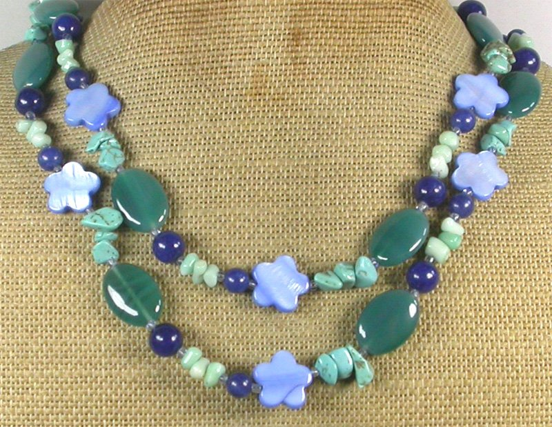 """Handmade LONG! 40"""" GREEN AGATE BLUE JADE CORAL TURQUOISE MOP NECKLACE"""