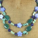 "Handmade LONG! 40"" GREEN AGATE BLUE JADE CORAL TURQUOISE MOP NECKLACE"