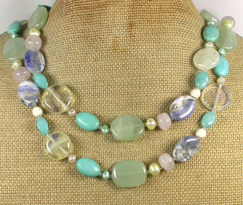 "Handmade LONG! 40"" TURQUOISE SODALITE ROSE QUARTZ JADE PEARLS NECKLACE"
